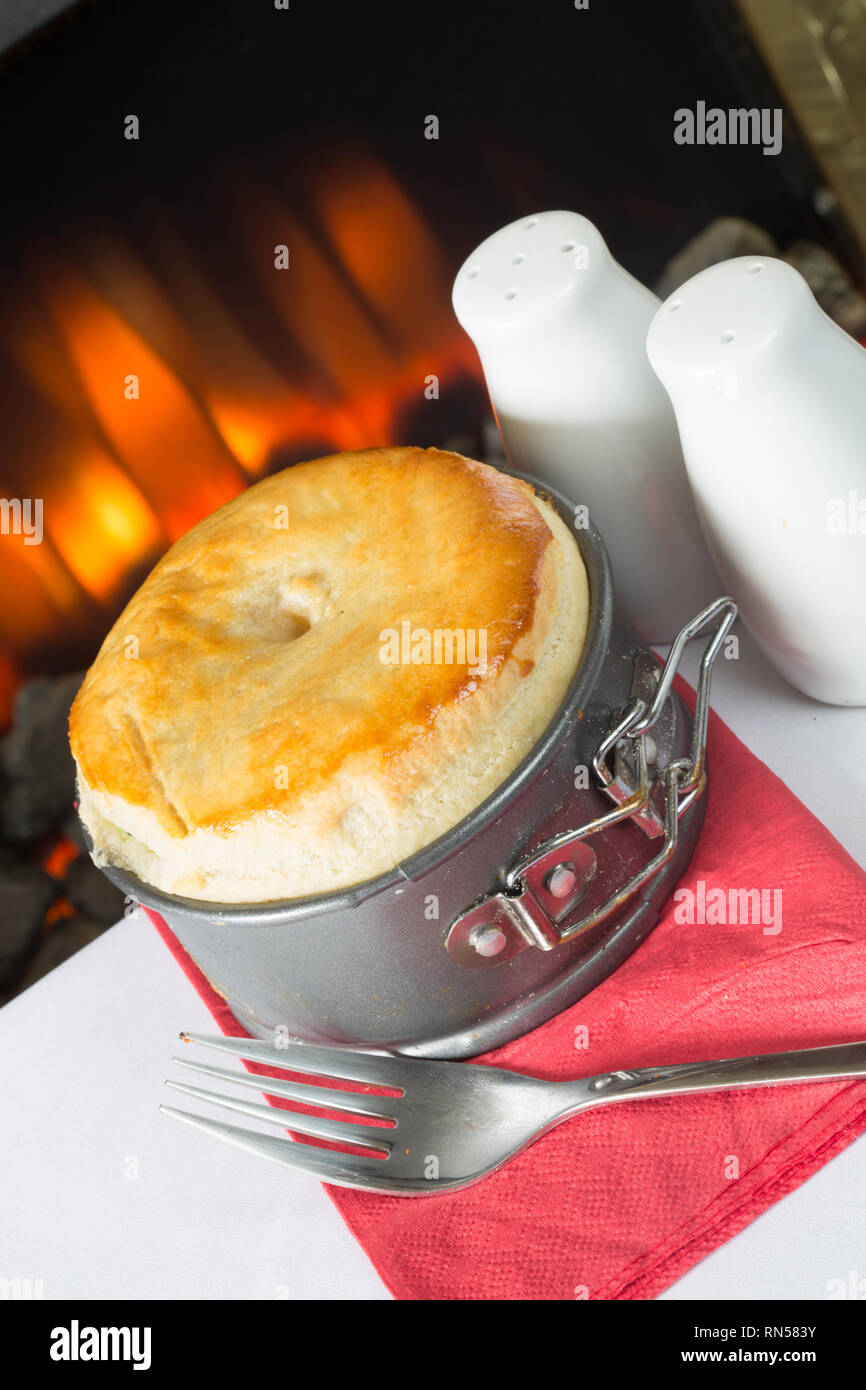 Homemade meat pie in an expanding pie tin fresh from the oven. - Stock Image
