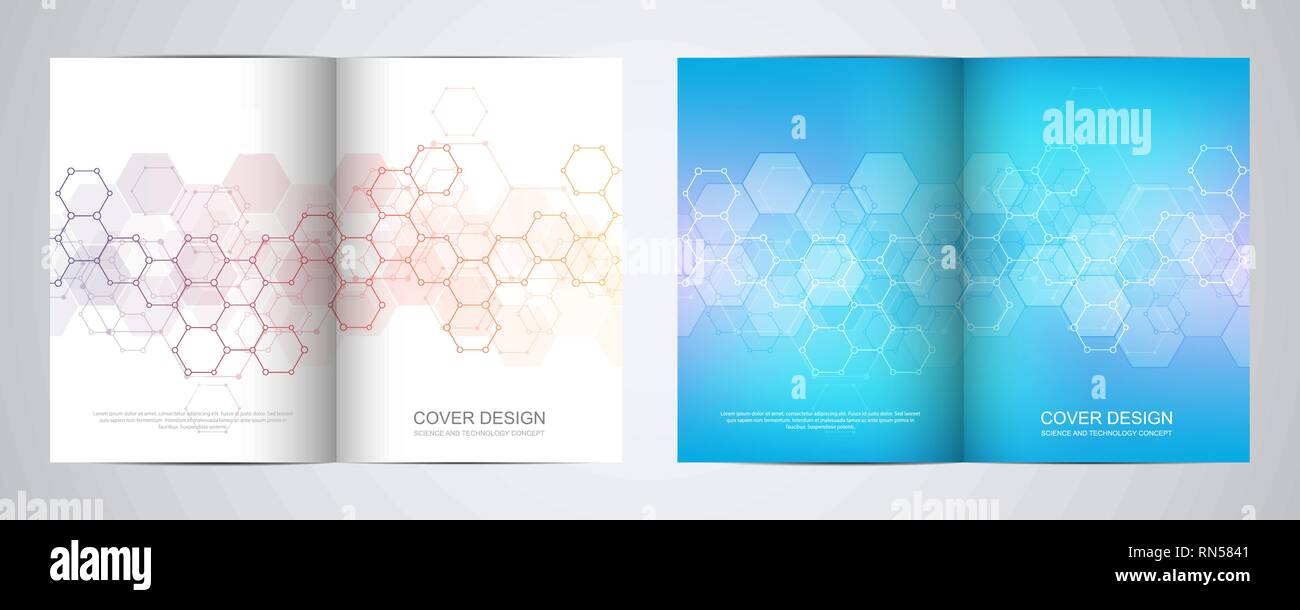 Vector covers or brochure for medicine, science and digital technology. Geometric abstract background with hexagons pattern. Molecular structure and - Stock Image
