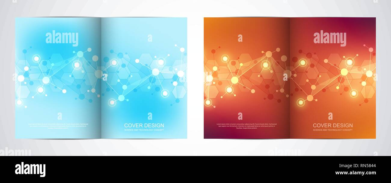 Vector template for brochure or cover with molecular structure background and connected lines and dots. Medicine, science and digital technology - Stock Image