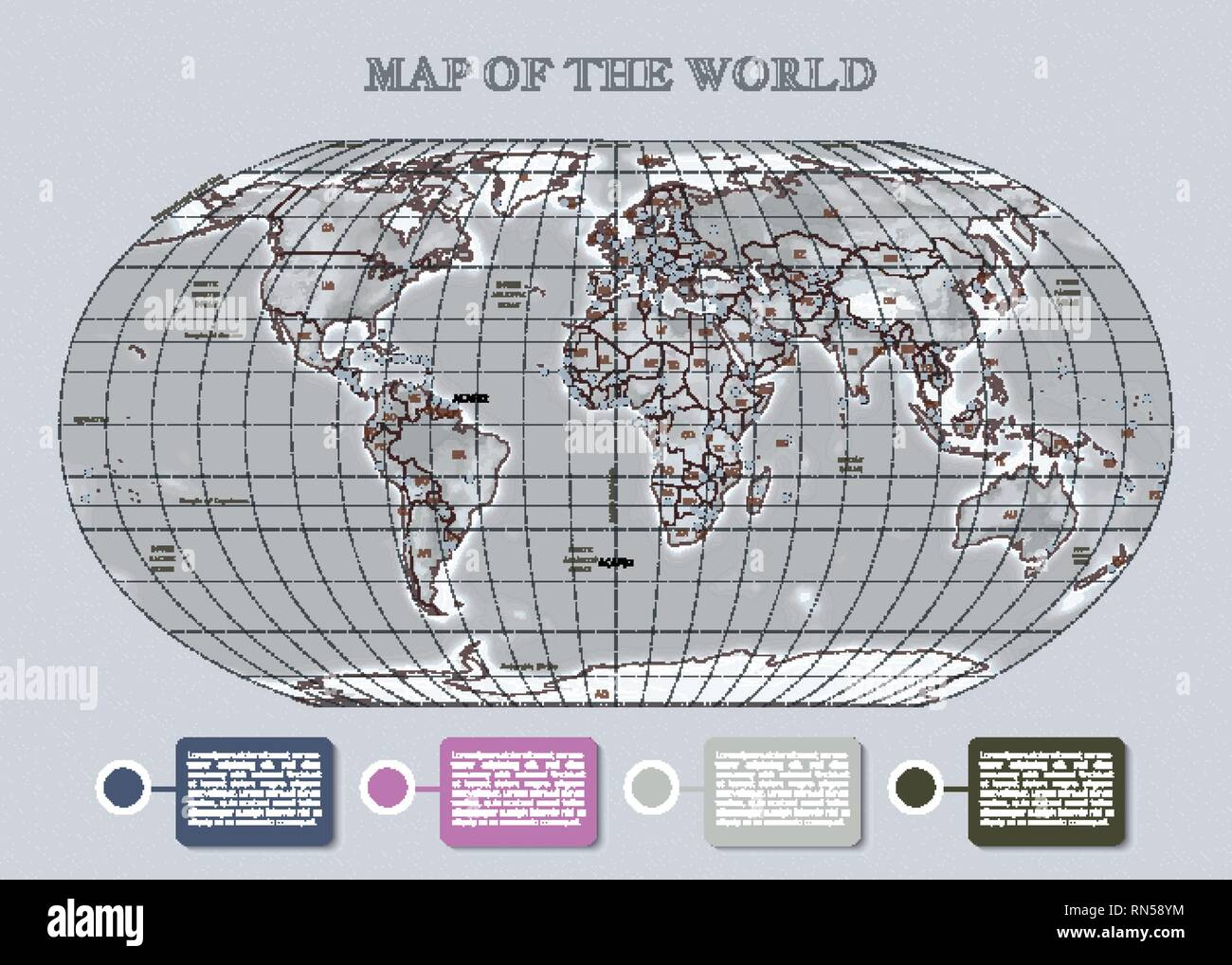 Physical vecror map of the World with outlines, major capitals, grid, infographic. Gray background Stock Vector