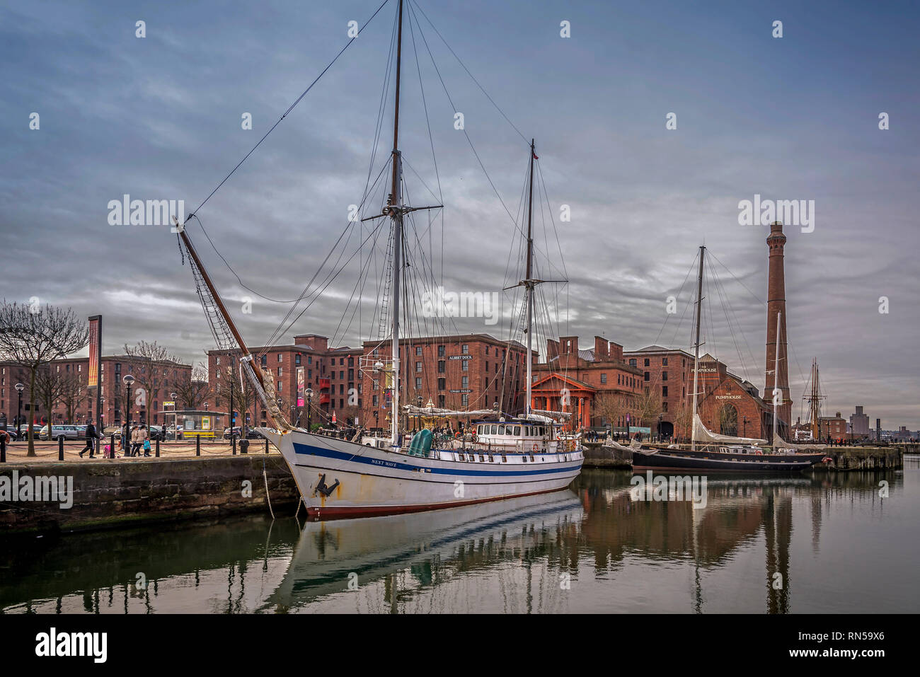 Sailing ships berthed in the Canning dock part of the Royal Albert Dock complex at Liverpool pierhead. - Stock Image