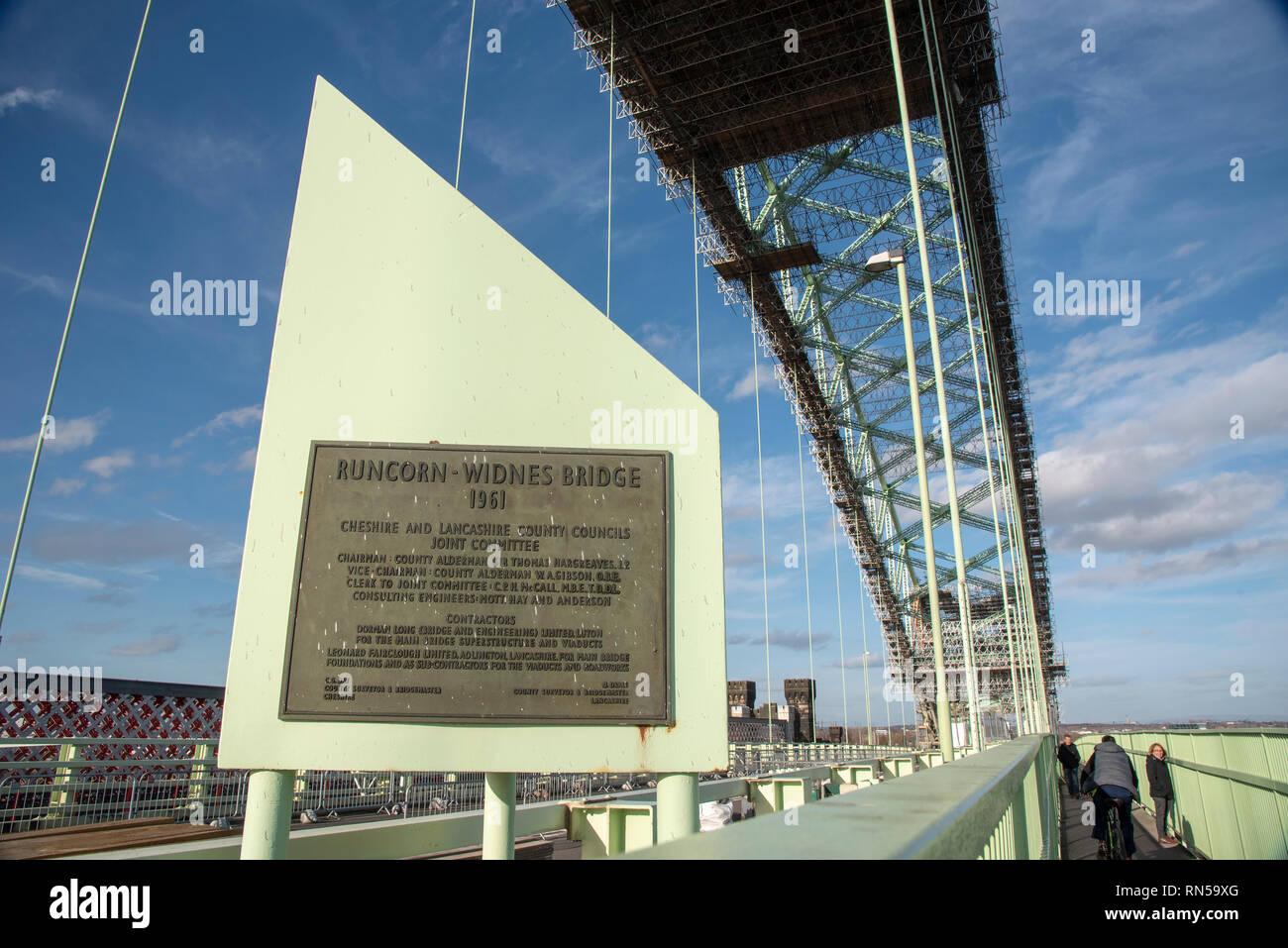The river Mersey bridge crossin plaque om the old Queensway bridge. - Stock Image