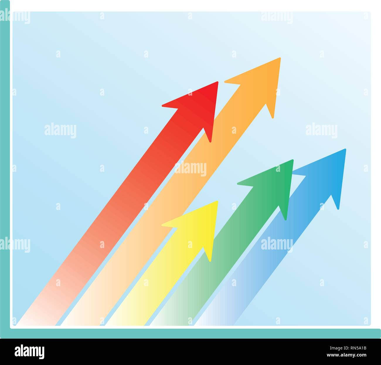 Business Growth Chart Oblique Arrows - Stock Image