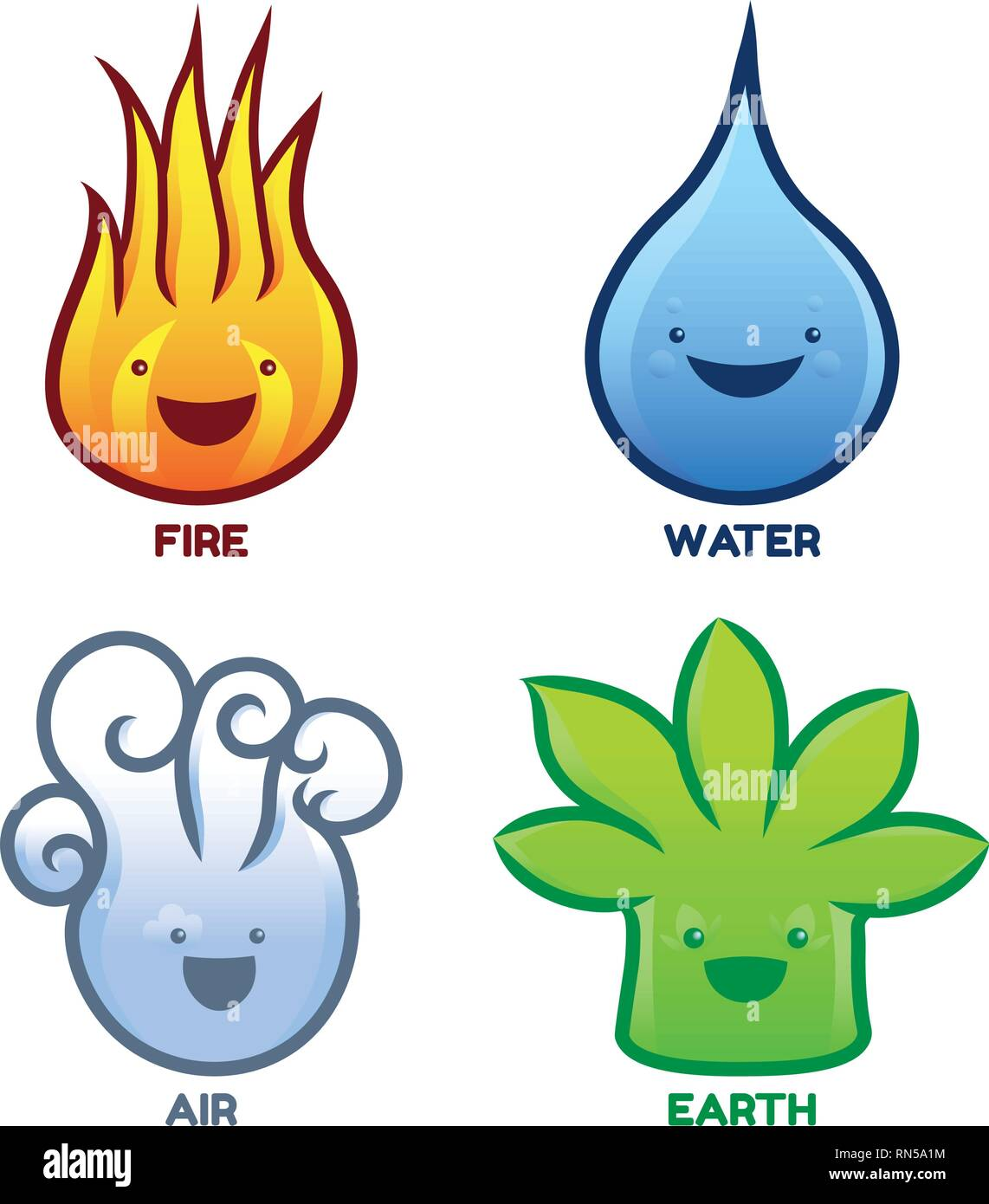 Four Elements Characters - Fire Water Air Earth - Stock Image