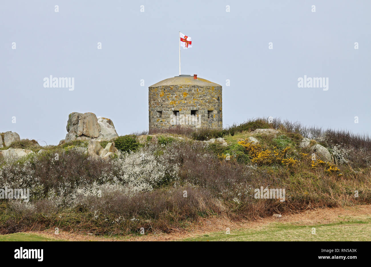 Martello fortification tower on the Northern coast of Guernsey in the English Channel Islands - Stock Image