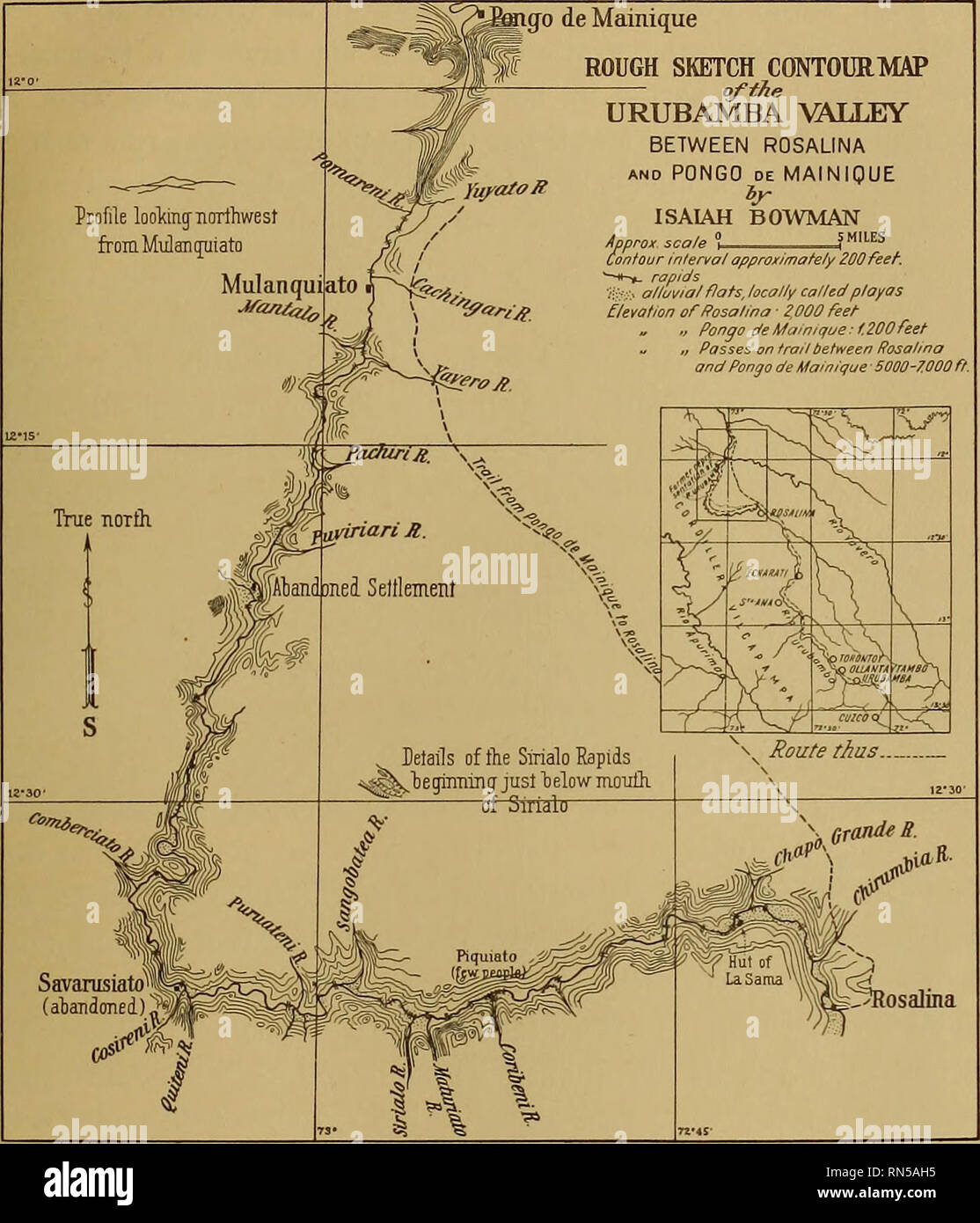 Image of: The Andes Of Southern Peru Geographical Reconnaissance Along The Seventy Third Meridian Yale Peruvian Expedition 1911 Physical Geography Geology The Rapids And Canyons Of The Urubamba Fig 8 Sketch Map Showing The Route