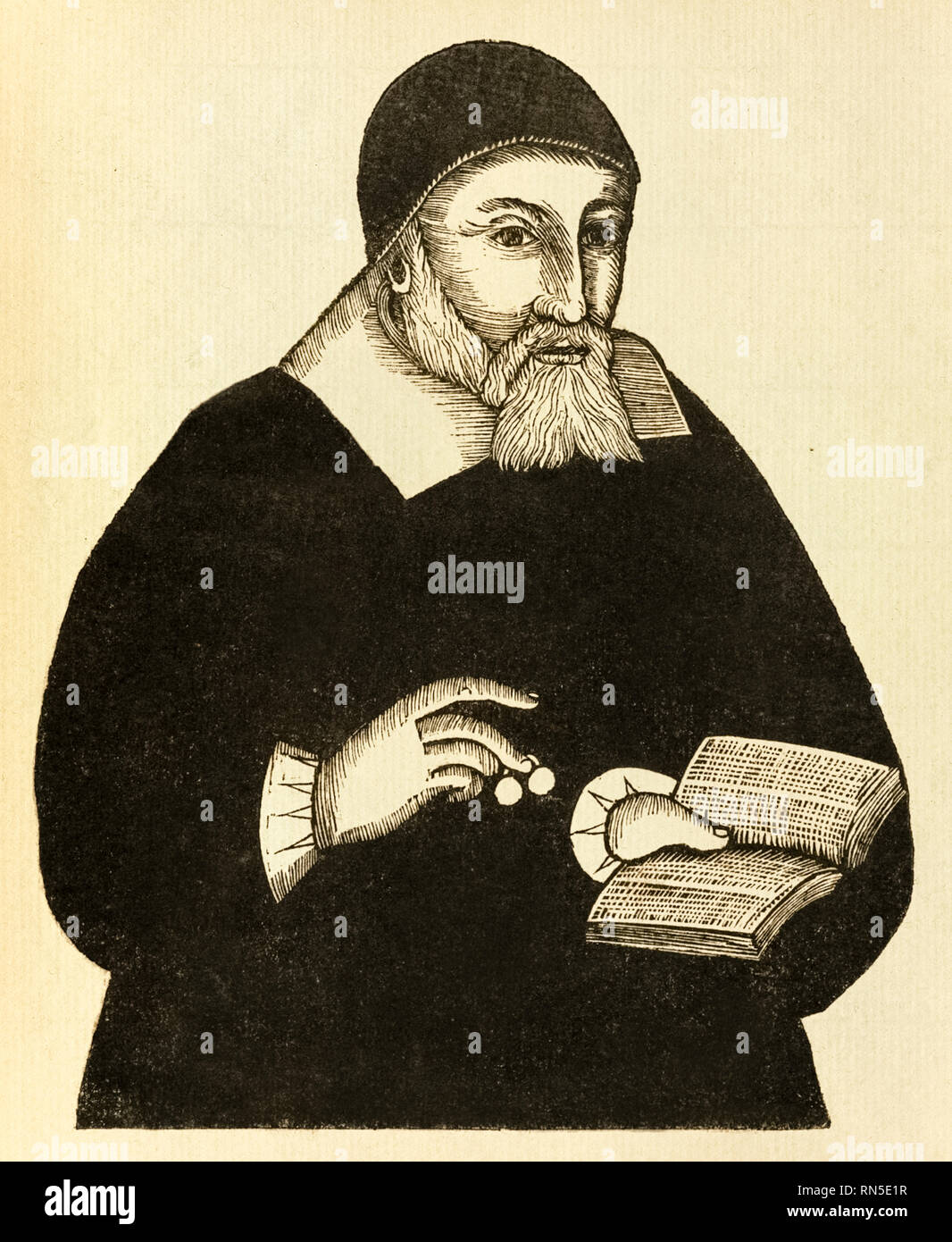 Richard Mather (1596-1669) first in a line of New England Puritan clergymen and leader of New England Congregationalism who co-authored the 'Bay Psalm Book' published in 1640. Reprint of original woodcut by John Foster (1648-1681) the earliest American engrave who was baptised by Richard Mather, published circa 1670. - Stock Image