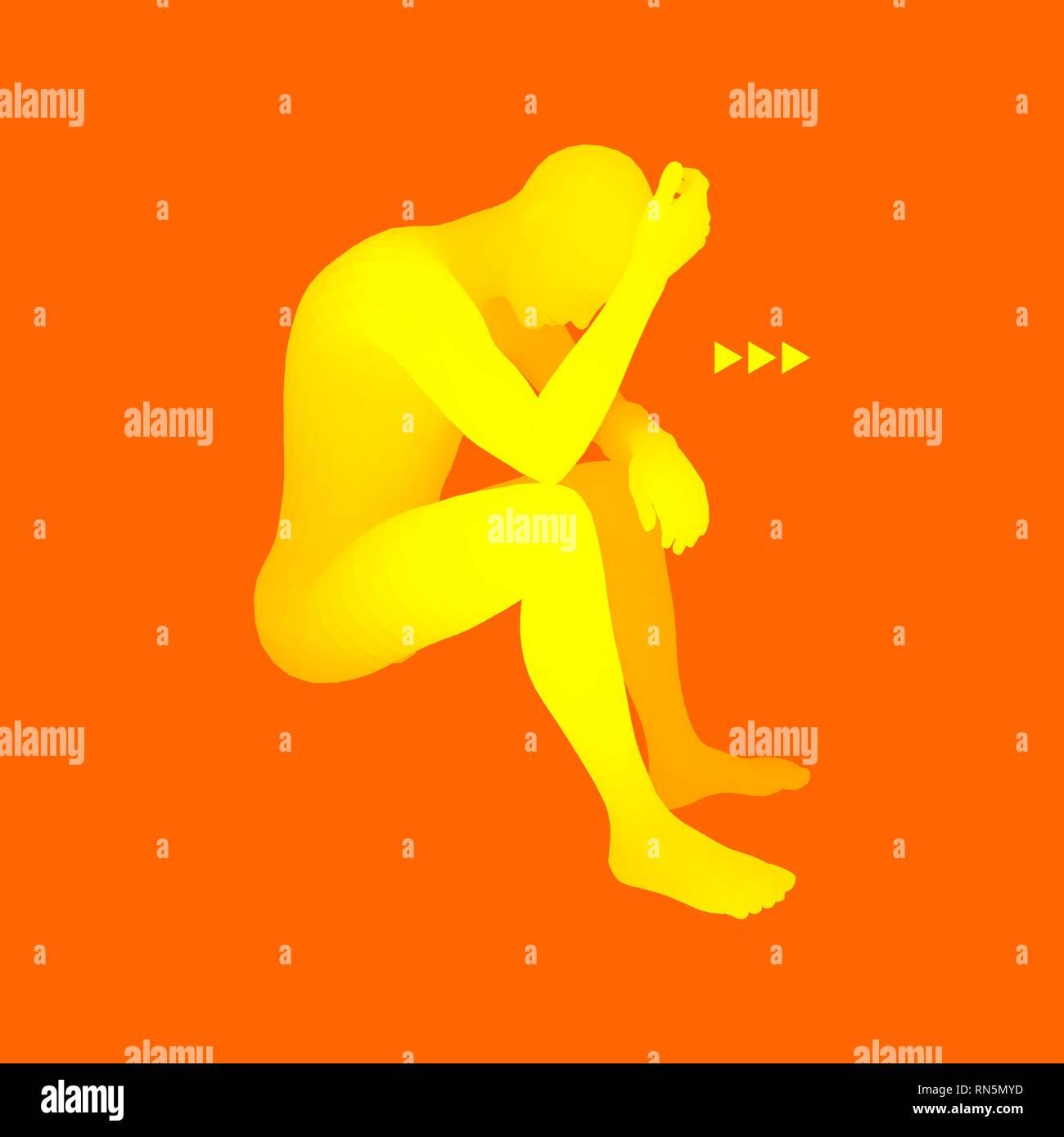 Man Thinks about a Problem. Despair, Depression, Hopelessness, Addiction Concept. 3D Model of Man. Vector Illustration. - Stock Vector