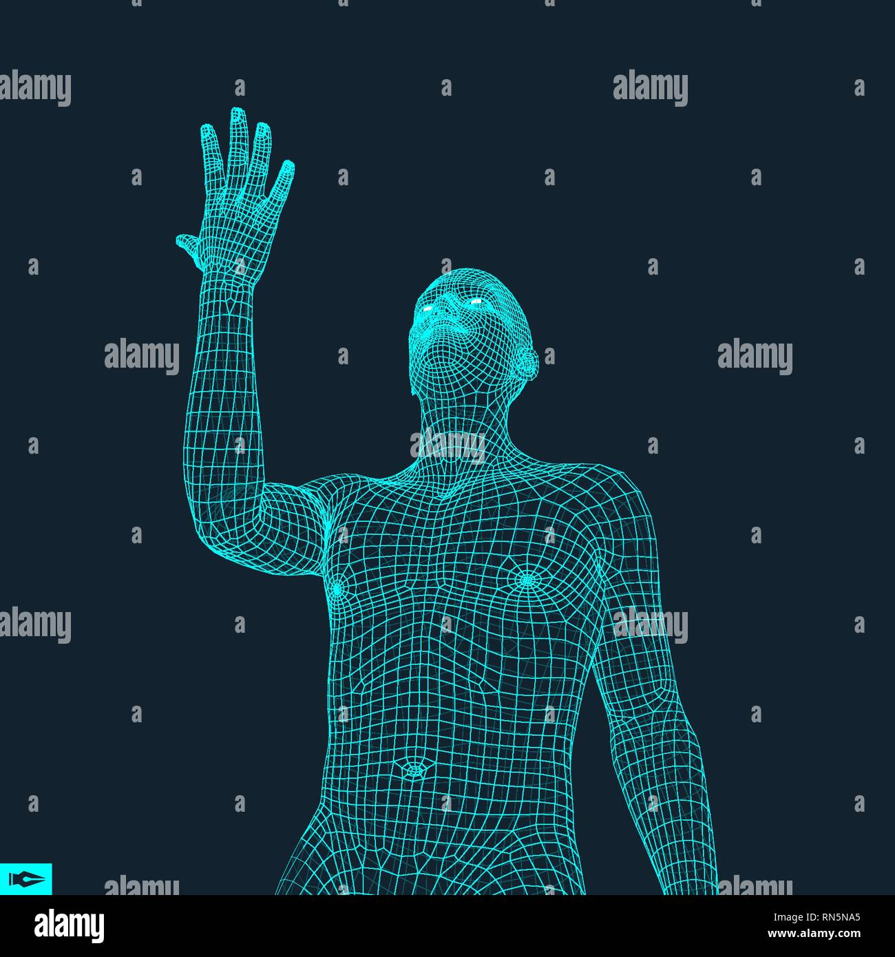 Man Points to Something by Hand. 3D Model of Man. Geometric Design. Vector Illustration. - Stock Vector