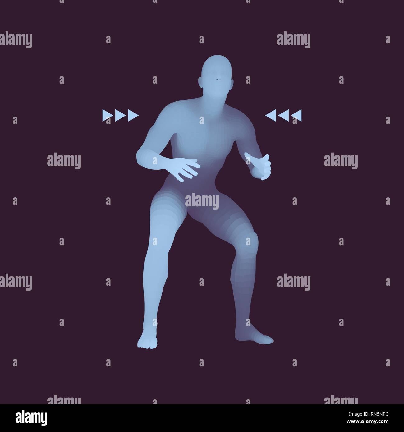 Fighter. Sports concept. 3D Model of Man. Human Body. Sport Symbol. Design Element. Vector Illustration. - Stock Image