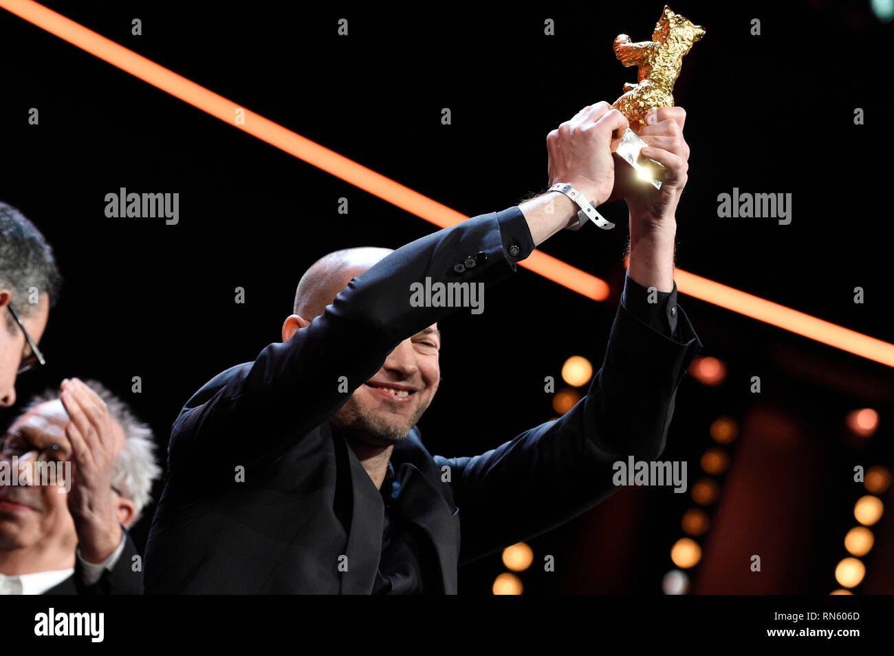 Berlin, Germany. 16th February 2019. Berlin, Germany. 16th February 2019. Nadav Lapid, winner of the Golden Bear for Best Film for 'Synonyms', poses at the closing ceremony during the 69th Berlin International Film Festival / Berlinale 2019 at Berlinale Palace on February 16, 2019 in Berlin, Germany. Credit: Geisler-Fotopress GmbH/Alamy Live News Credit: Geisler-Fotopress GmbH/Alamy Live News Stock Photo