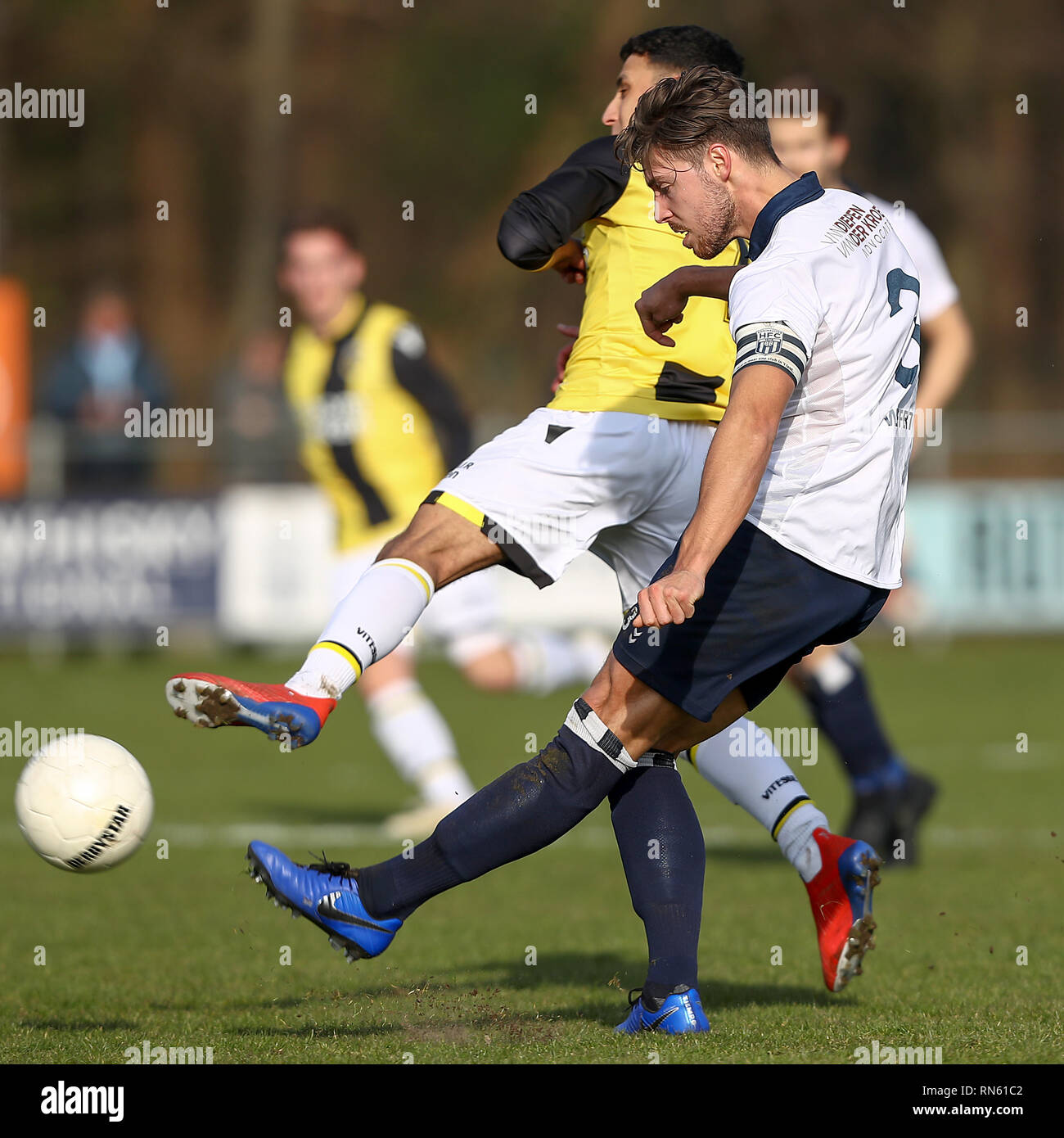 HAARLEM, 16-02-2019 , Sportpark Spanjaardlaan , Football , Dutch Tweede Divisie , season 2018 / 2019. Kon. HFC-player Oscar Wilffert (R) , Jong Vitesse player Hicham Acheffay during the match Koninklijke HFC - Jong Vitesse (1-0) - Stock Image