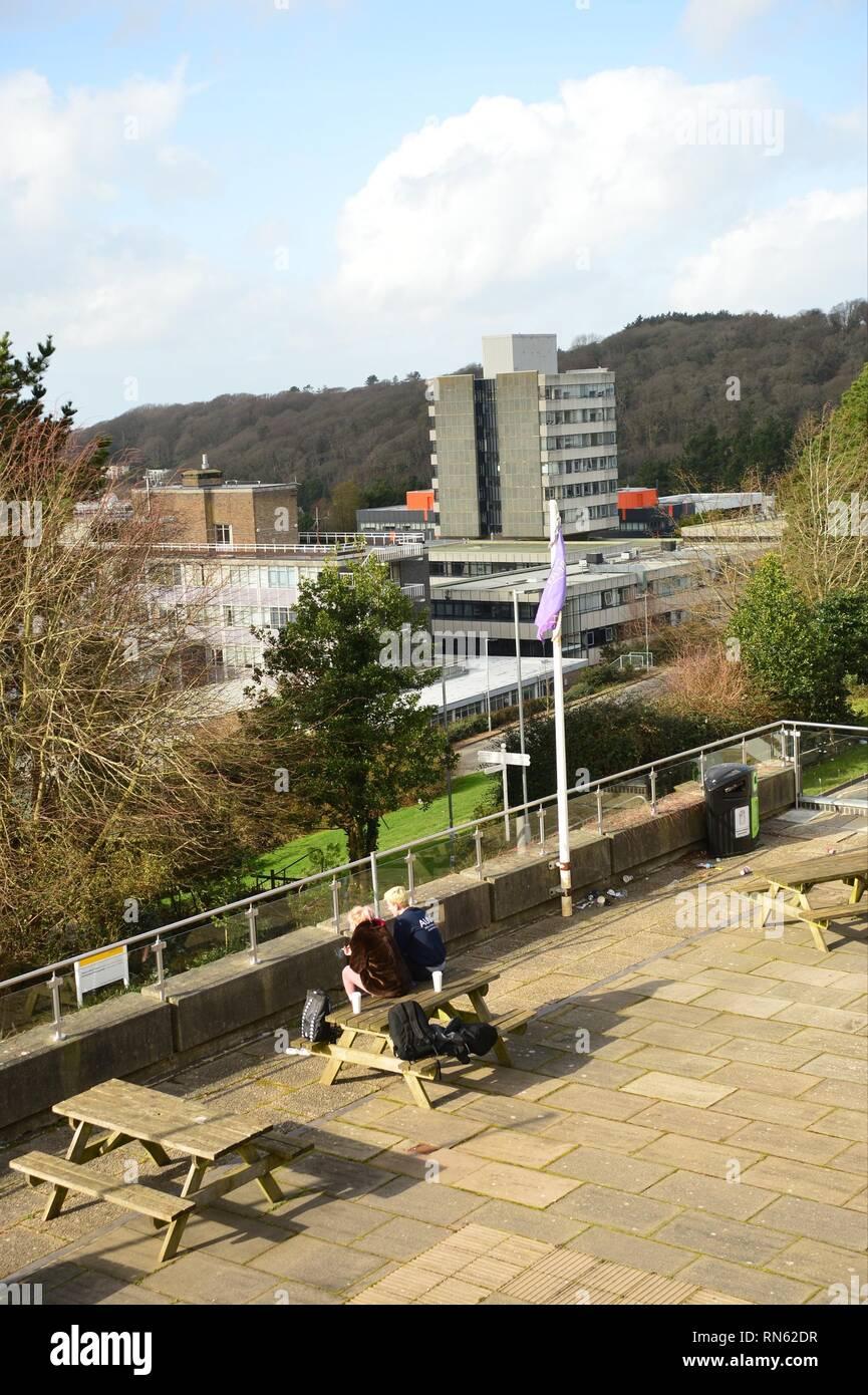 Aberystwyth Wales UK. Sunday 17 Feb 2019  UK weather: People enjoying the warm February sunshine in Aberystwyth on the west coast of Wales   photo © Keith Morris / Alamy Live News - Stock Image