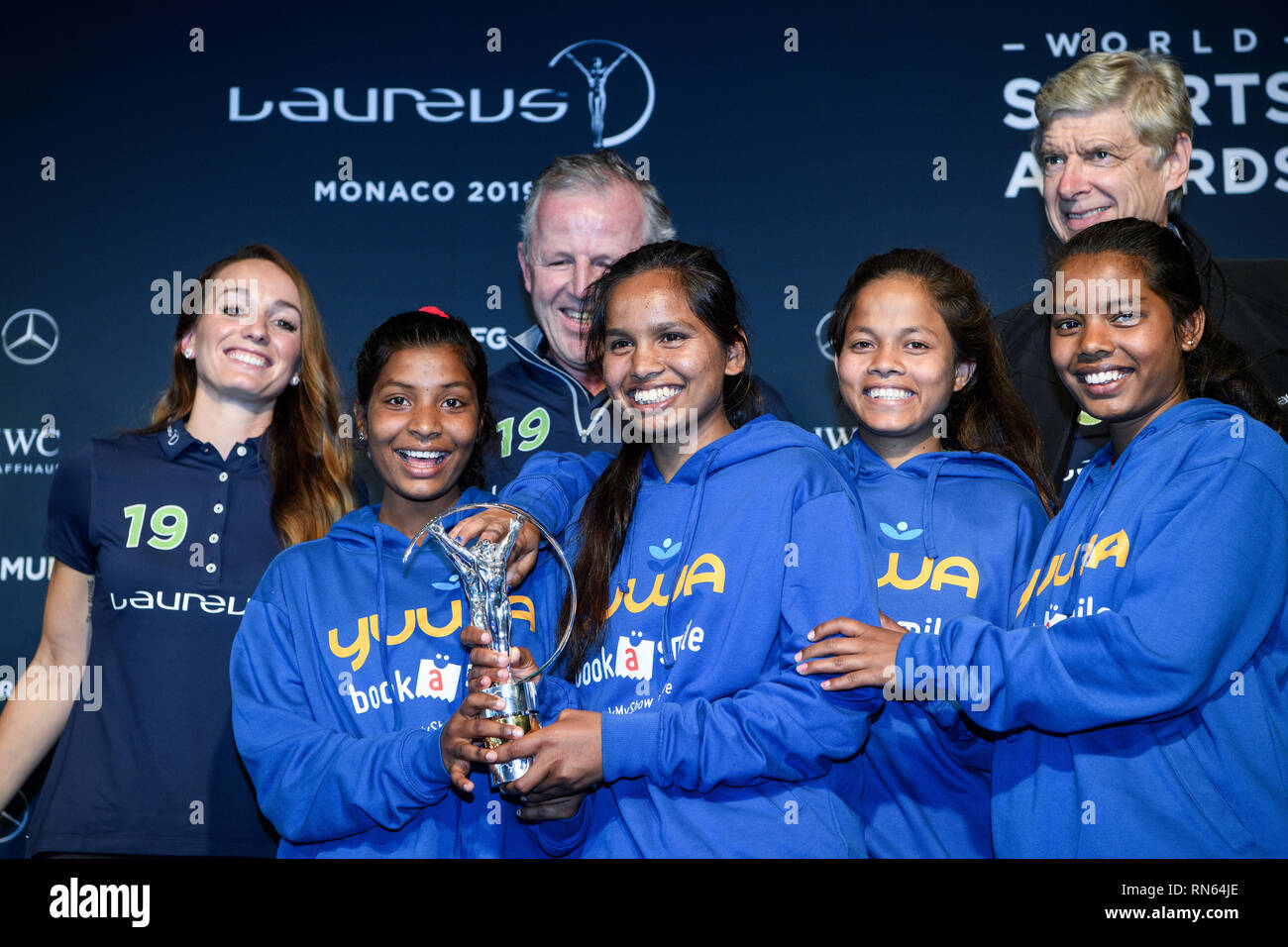 Monaco. 17th Feb, 2019. Prize: Laureus Sport for Good Award 2019: Trophy winner is the Indian social sport project Yuwa: Back left to right: Kosovare Asllani, Sean Fitzpatrick (Chairman Laureus), Arsene Wenger. In front are the winners left to right Radha, Neeta, Konika and Hema, football players of the project Yuwa. GES/Sports General/Laureus World Sports Awards 2019, 17.02.2019 Sports: Laureus World Sports Awards 2019, February 17, 2019 | usage worldwide Credit: dpa/Alamy Live News - Stock Image