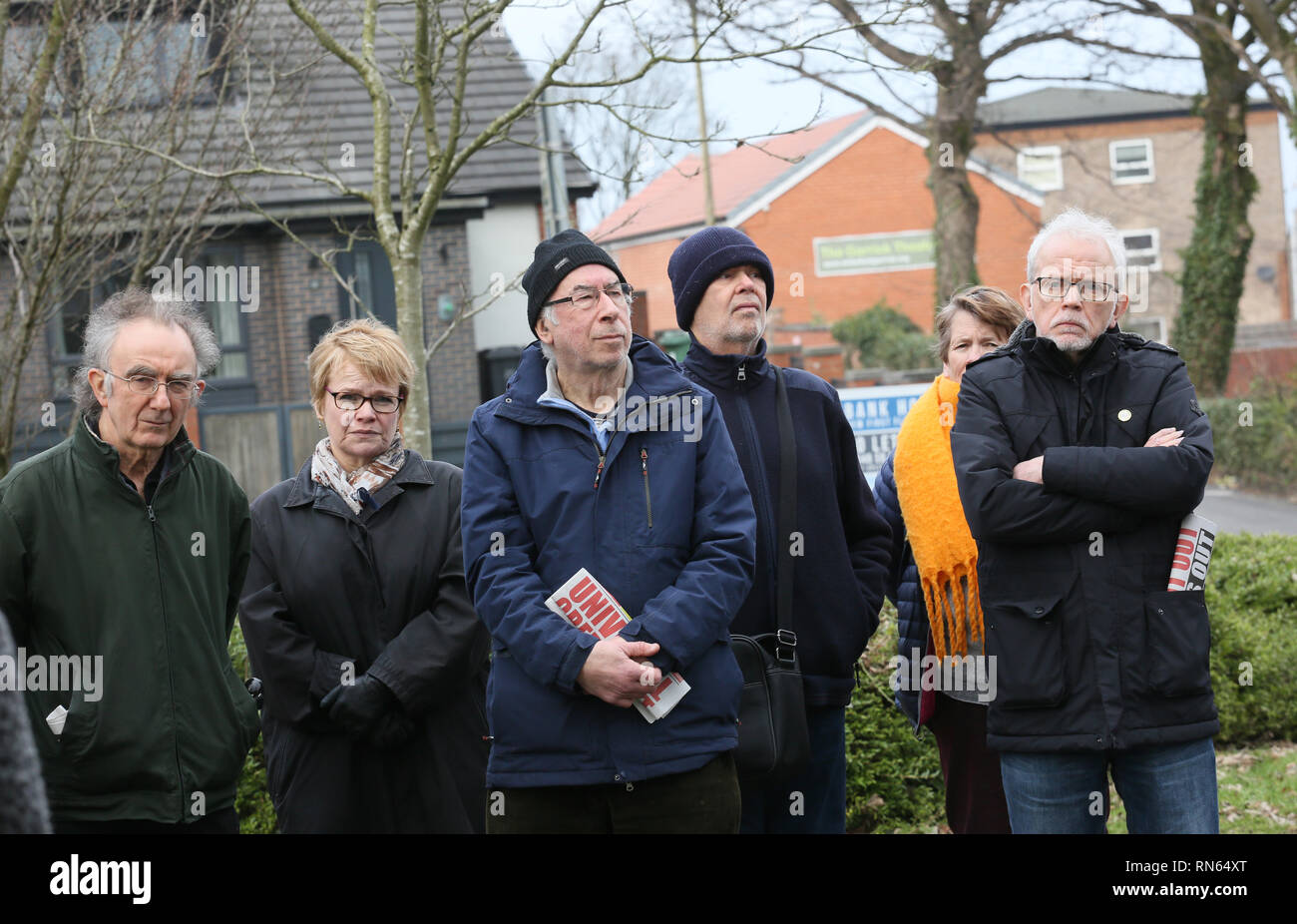 Whitefield, UK. 17th Feb, 2019. A vigil is held after an attack on Phillips Park Jewish cemetery which Police are treating as hate crime, Whitefield, Greater Manchester, UK, 17th February 2019 (C)Barbara Cook/Alamy Live News Credit: Barbara Cook/Alamy Live News - Stock Image