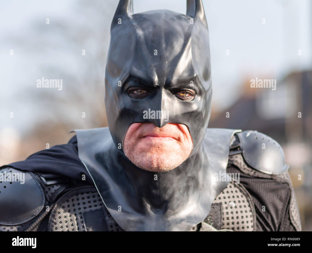 Edinburgh, Scotland, UK. 17th February, 2019. A cosplayer dressed as the fictional superhero Batman from the comic book published by DC Comics, arriving on day three of the Capital Sci-Fi Con held at the Edinburgh Corn Exchange. Credit: Skully/Alamy Live News - Stock Image