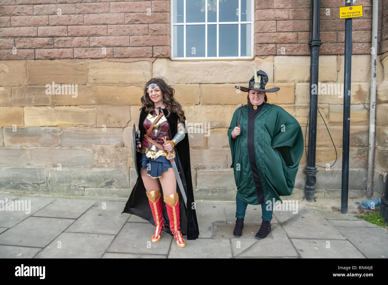 Edinburgh, Scotland, UK. 17th February, 2019. Cosplayers arriving on day three of the Capital Sci-Fi Con held at the Edinburgh Corn Exchange. Credit: Skully/Alamy Live News - Stock Image