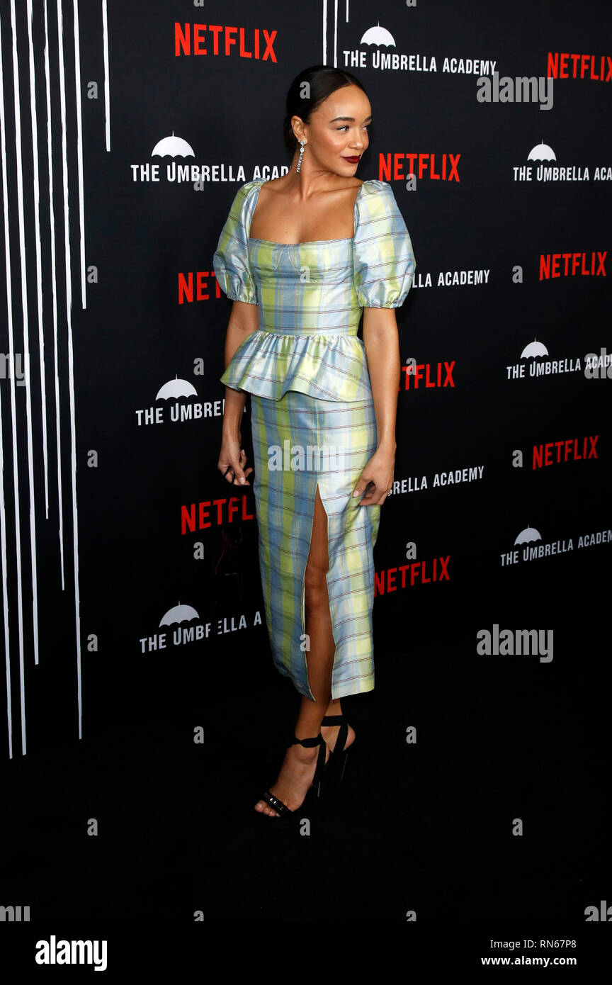 Los Angeles, USA. 13th Feb, 2019. Ashley Madekwe at the premiere of the Netflix TV series 'The Umbrella Academy' at ArcLight Hollywood. Los Angeles, 12.02.2019 Credit: dpa/Alamy Live News Stock Photo