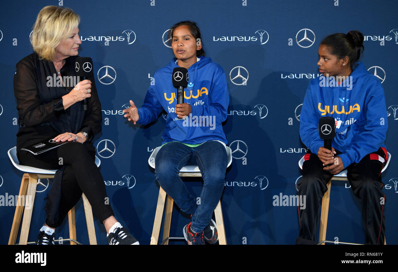Monaco. 17th Feb, 2019. Prize: Laureus Sport for Good Award 2019. The winner of the trophy is the Indian social sport project Yuwa: Sabine Christiansen (Laureus ambassador) in conversation with Neeta (m.) And Radha (r.), Football players of the Yuwa project. GES/Sports General/Laureus World Sports Awards 2019, 17.02.2019 Sports: Laureus World Sports Awards 2019, February 17, 2019 | usage worldwide Credit: dpa/Alamy Live News - Stock Image