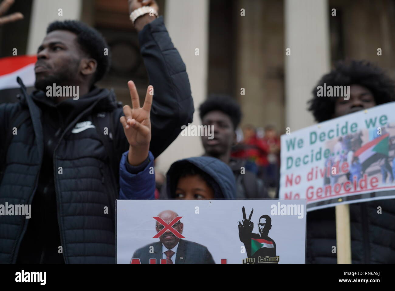 Trafalgar Square, London, UK. 16th Feb 2019. Photograph taken in central London during a protest organised by the Sudanese population in the UK in order to overthrow the Sudanese regime which has reigned for about 30 years causing civil upheaval and genocides mostly in the South Sudan which now holds its independence. The county overall has suffered from justice ranging from hyperinflation to unlawful imprisonment. Credit: Ioannis Toutoungi/Alamy Live News Stock Photo
