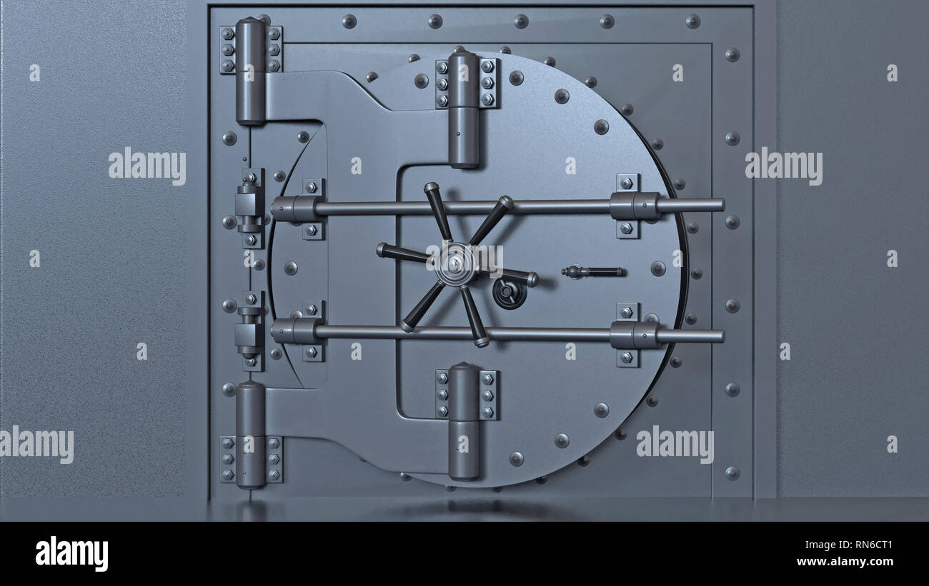 Bank vault door. 3d rendering. - Stock Image