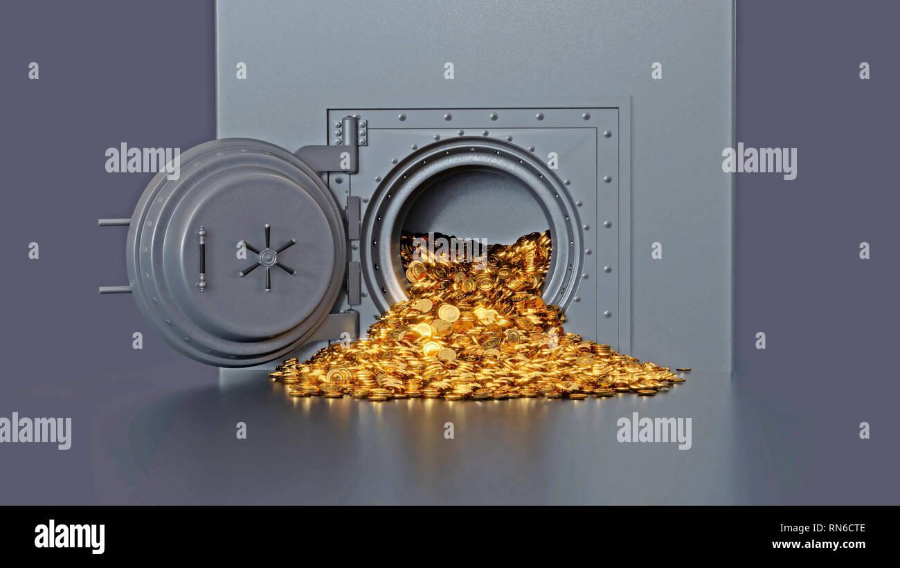 Bank vault door opening revealing a golden coin. 3d rendering. - Stock Image