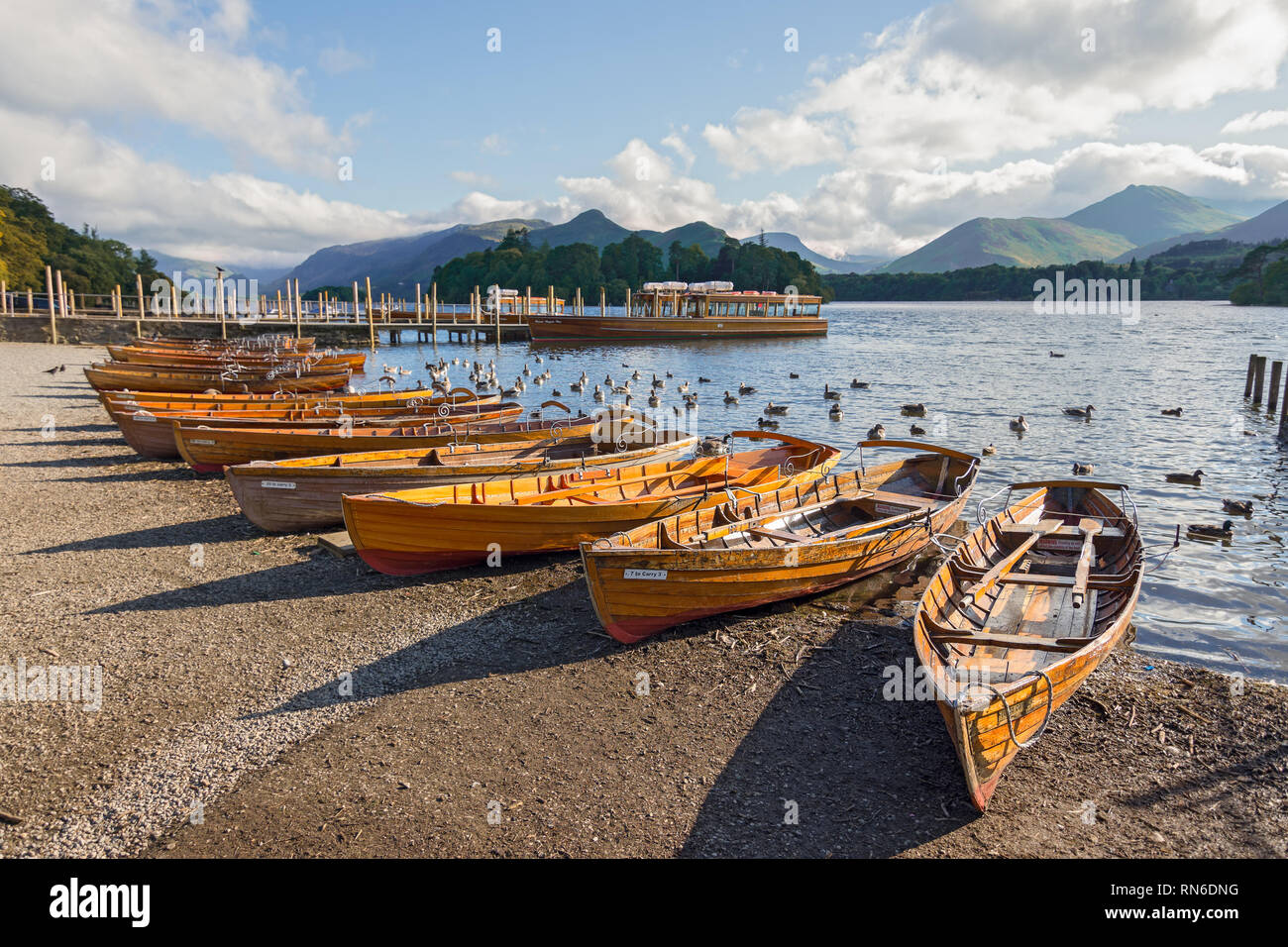 Row of wooden row boats lined up on the shore of Derwent water, Keswick, Cumbria. Stock Photo