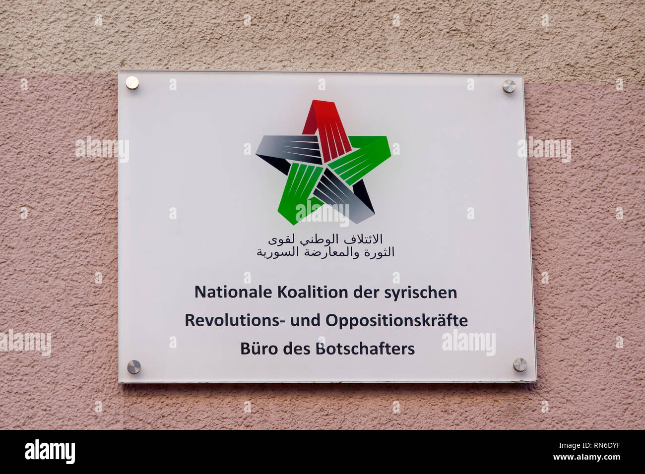 Sign: National Coalition of Syrian Revolutionary and Opposition Forces, Office of the Ambassador, Berlin, Germany - Stock Image