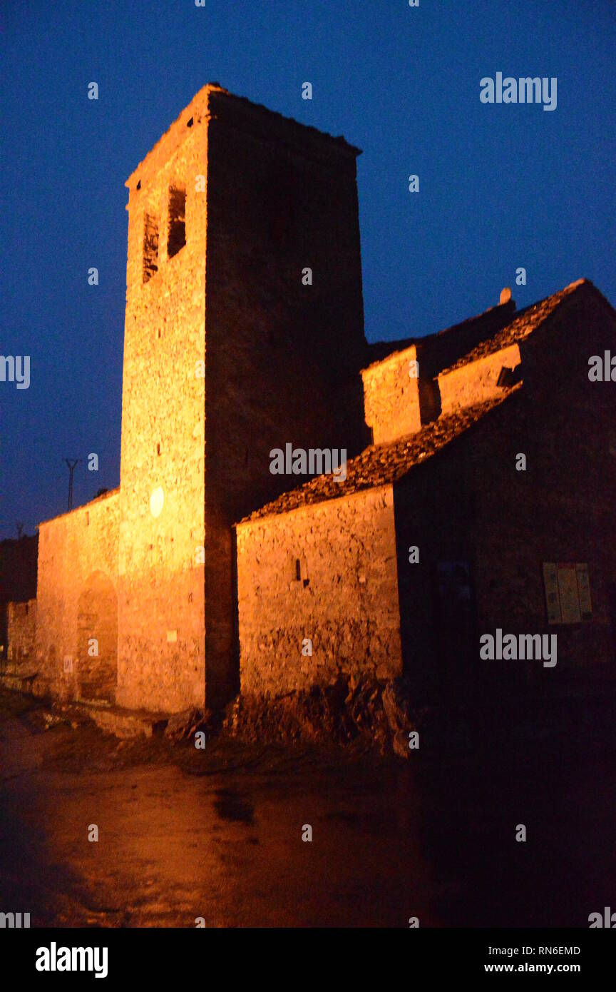 Nocturnal Photography Of The Main Facade Of The Church Of San Martin De Tella. Travel, Landscapes, Nature, Architecture. December 27, 2014. Tella, Hue Stock Photo