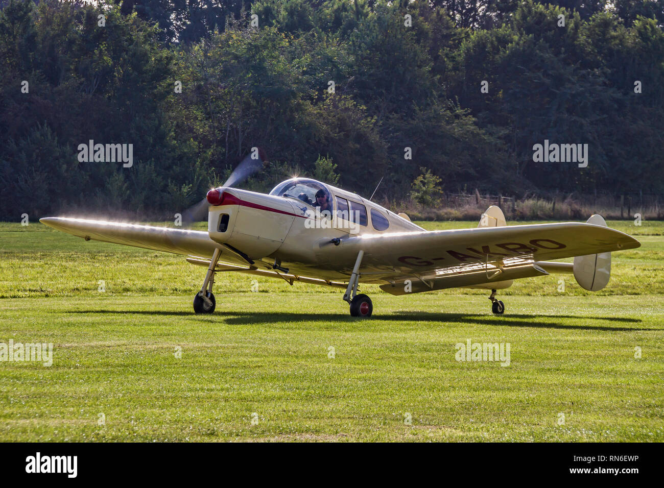 Nick Lee's 1947 Miles Messenger 2A G-AKBO taxying in on a visit to Old Warden in 2016. - Stock Image