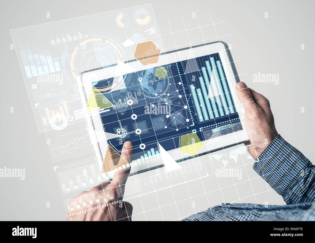 Concept of global connection and interaction interface on notebook display - Stock Image