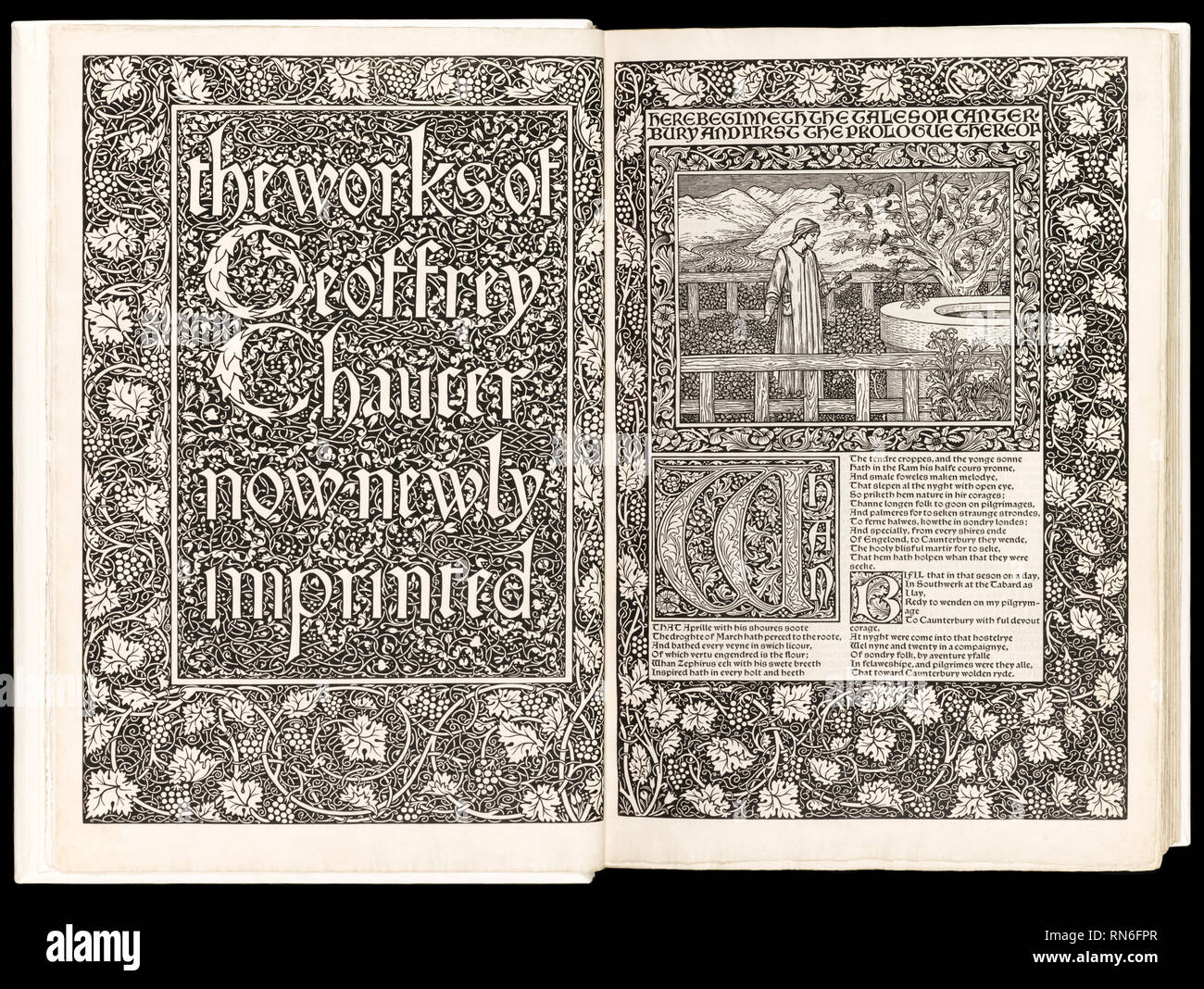 'The Works of Geoffrey Chaucer Now Newly Imprinted' by Geoffrey Chaucer (1343-1400) featuring woodcuts by Edward Burne-Jones (1833-1898) and printed on Batchelor handmade paper, published by Kelmscott Press in 1896. - Stock Image