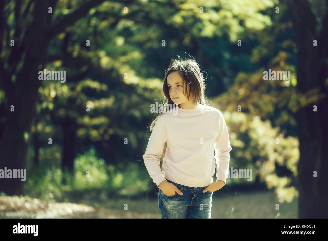 Cute girl preteen  - Stock Image