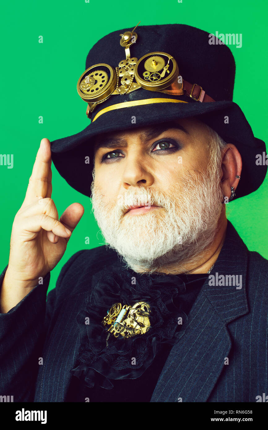 Senior bearded man or watchmaker - Stock Image