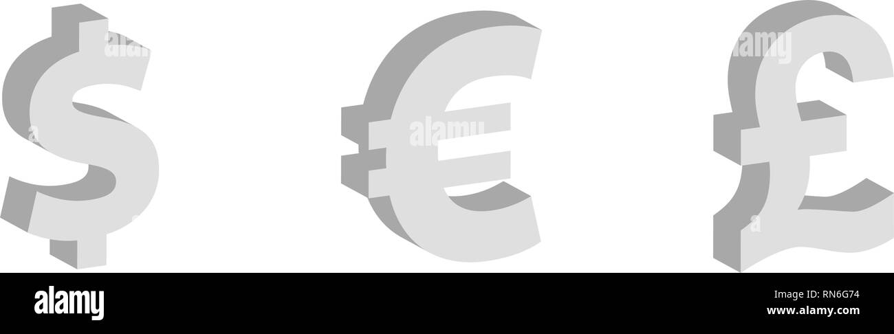 Dollar, euro, pound sterling Flat icon, currency symbols