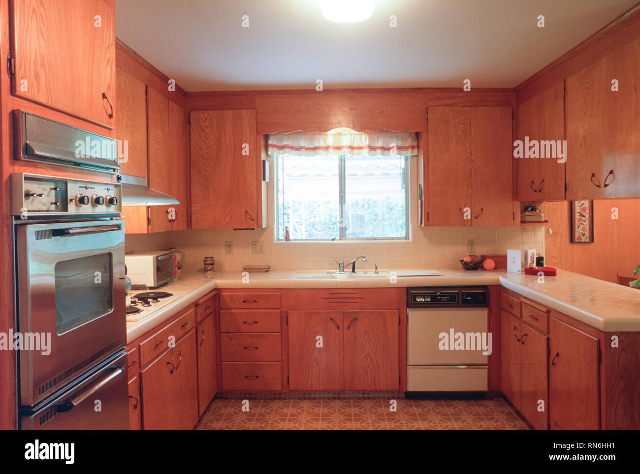 1960s Kitchen Handmade Wooden Cabinets Usa Stock Photo Alamy