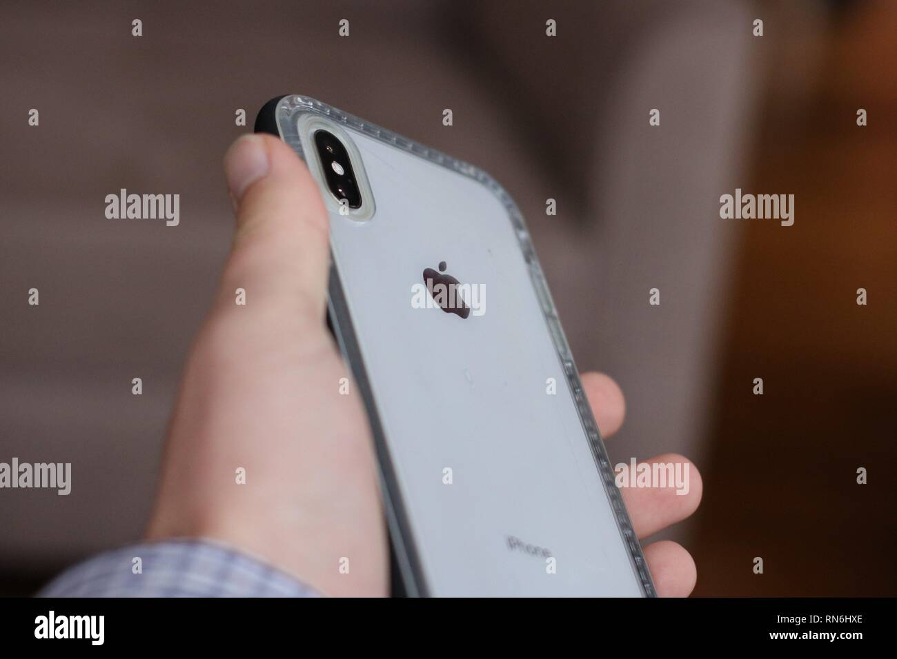 iPhone XS Max in Lifeproof case - Stock Image