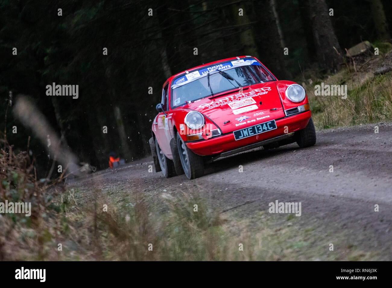 Rally car competing in the 2019 Cambrian Rally, in Alwen Forest, North Wales - Stock Image