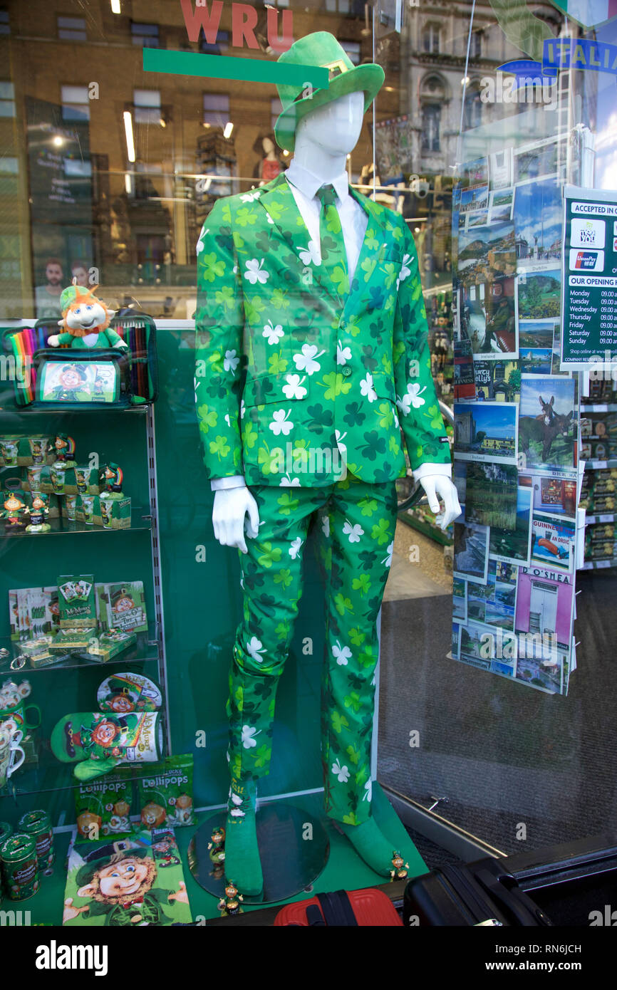 Irish shamrock summer suit on sale at Carrolls Irish Gifts shop, Dublin, Ireland - Stock Image