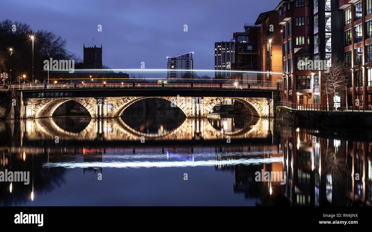 Light trail, Bristol bridge. - Stock Image