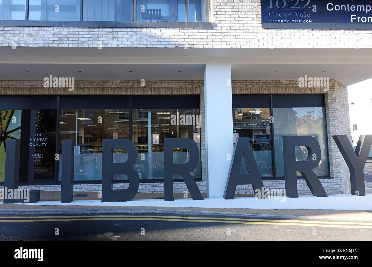 New library opened 2019 in modern development in East Dulwich, South London - Stock Image