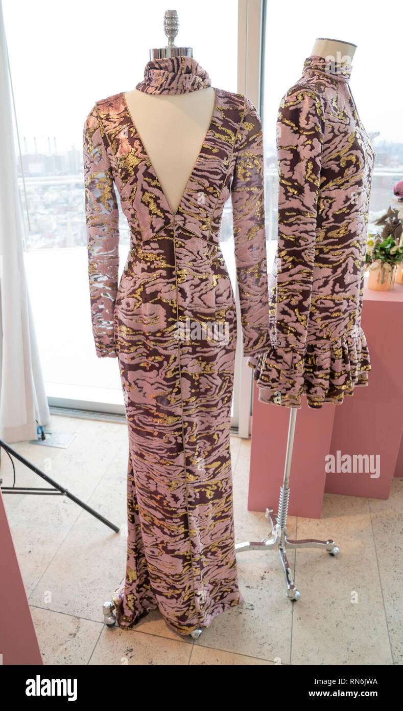 New York, NY - February 11, 2019: Dress by J  Mendel on