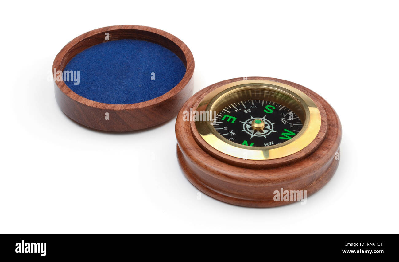 Old style wooden compass isolated on white background - Stock Image
