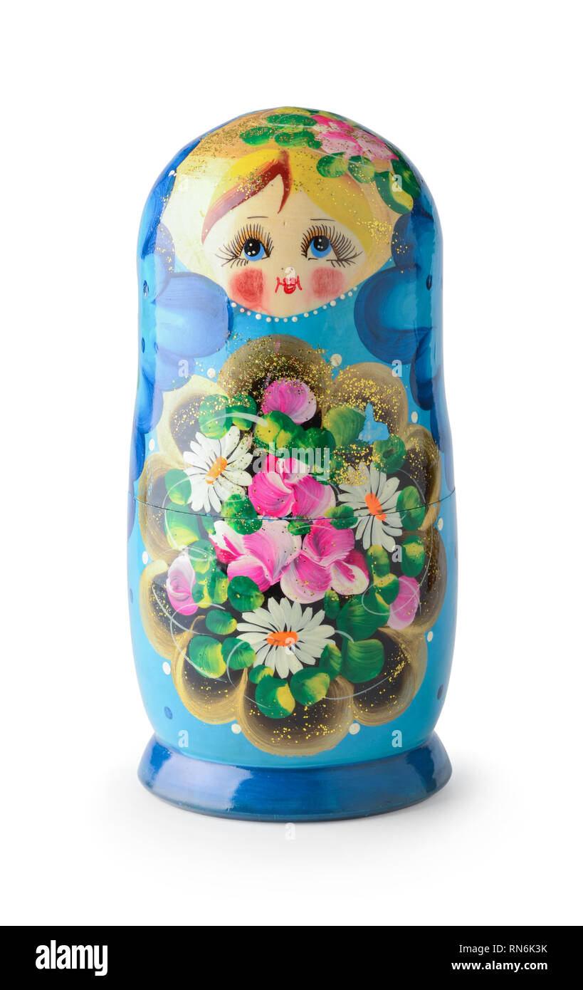 Russian doll isolated on white background - Stock Image