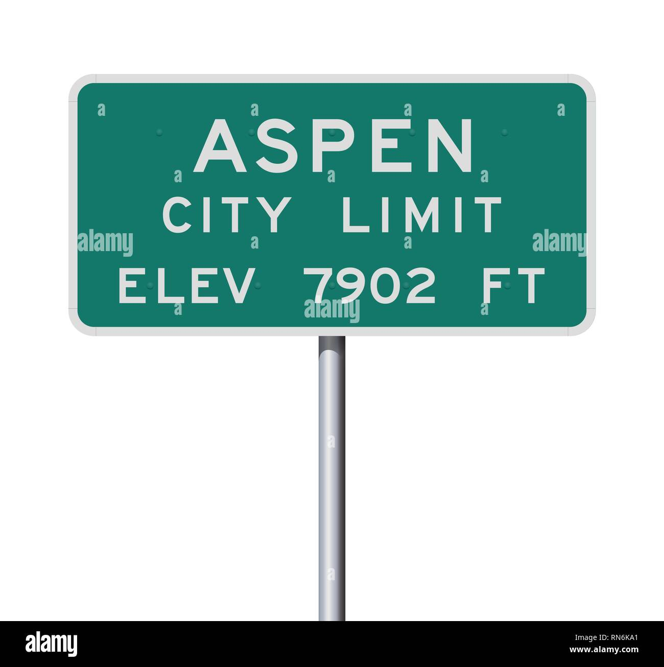 Vector illustration of the Aspen City Limits green road sign - Stock Image