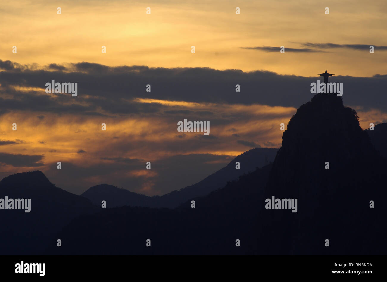 Sunset with view from sugarloaf to the Christus statue - Stock Image