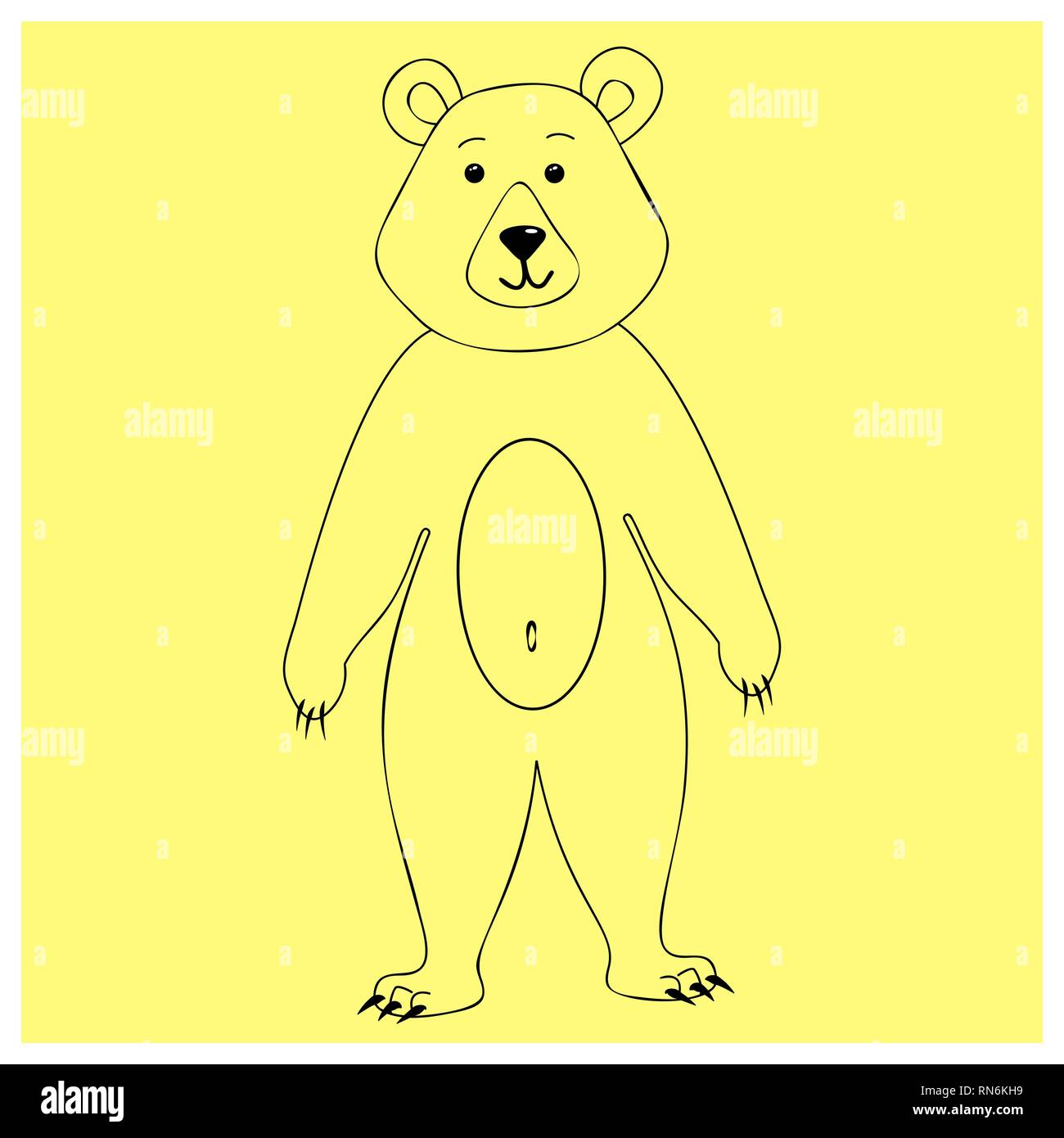- Bear Character Standing On His Hind Legs. Linear Elements For