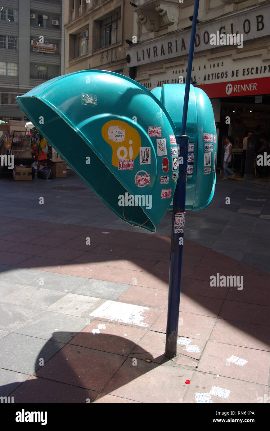 Turquoise call box - Telephon booth - Stock Image