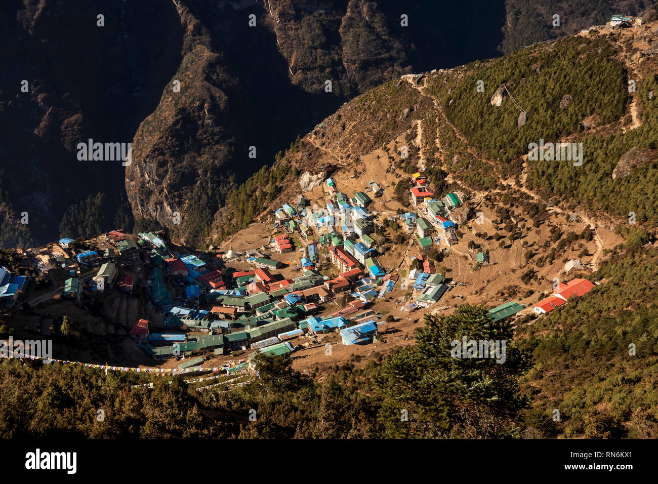 Nepal; Namche Bazaar, elevated view of town from path to Syangboche and Everest View Hotel - Stock Image