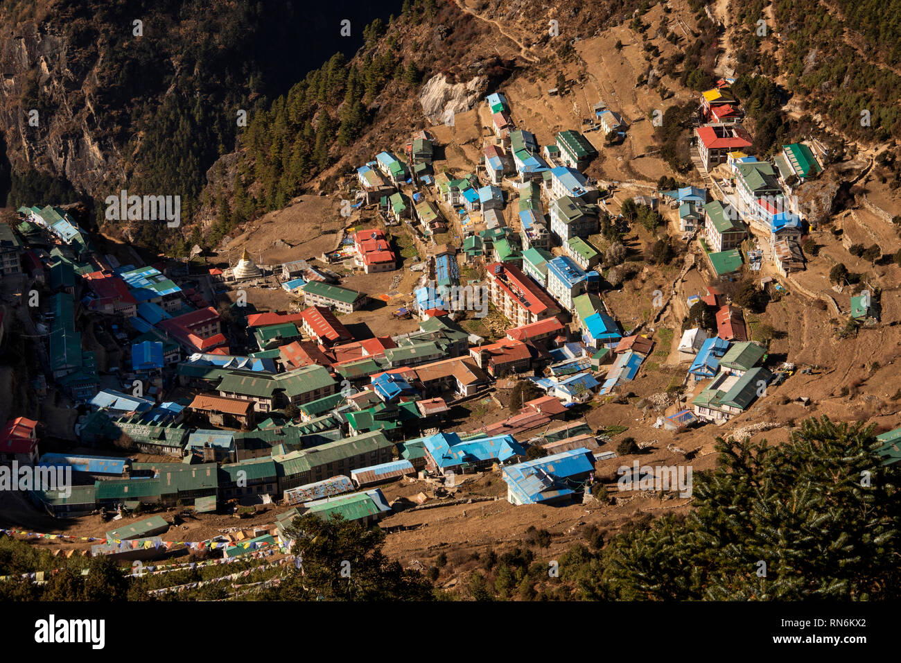 Nepal, Namche Bazaar, elevated view of town from path to Syangboche and Everest View Hotel - Stock Image